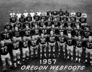 The 1957 Oregon Webfoots overachieved and earned national respect for their play in the 1958 Rose Bowl.  Photo Courtesy: Special Collections &amp; University Archives: University of Oregon LIbraries