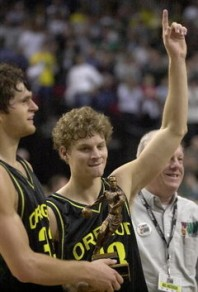 Luke Jackson (left) and Luke Ridnour (right) receiving the player of the game award after a win over Kansas 74-68.