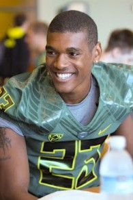 RS Soph. WR BJ Kelley answers questions during Oregon's Football Media Day