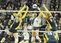 Martenne Bettendorf goes for a kill against Toledo on Saturday.