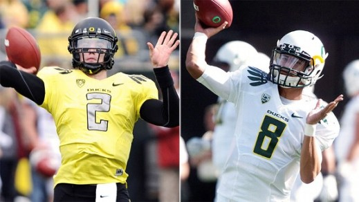 This year all the talk in camp is who will be quarterback-Bennett or Mariota. 15 years ago, a nearly identical QB battle played out in camp.