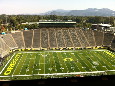 The view from the Autzen Stadium press box