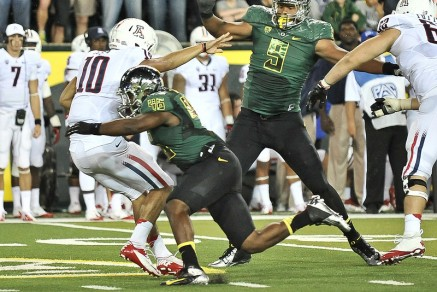 Matt Scott (#10) was punished by Oregon's defense for much of the night