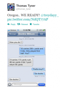 Oregon commit Thomas Tyner tweeted this iPhone screenshot late Friday night.