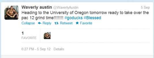 C Waverly Austin Tweeted his intention to suit up for Oregon.