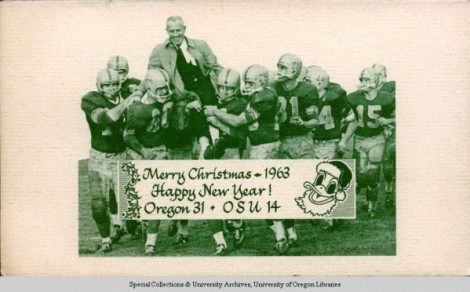 The 1963 Civil War win was turned into a Christmas card. ©University of Oregon Libraries - Special Collections and University Archives