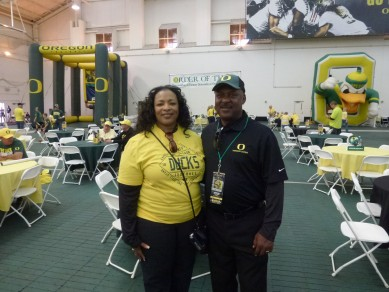 Reggie Ogburn, with wife Dildra, returned to Eugene for the first time since 1981.