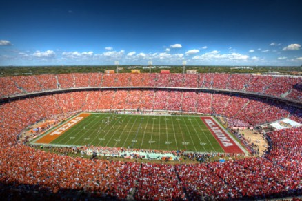The Red River Rivalry fully encourages segregation, between reds and burnt-oranges.