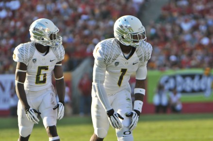 Josh Huff, right, will be heavily relied on next year if Oregon does become more pass heavy