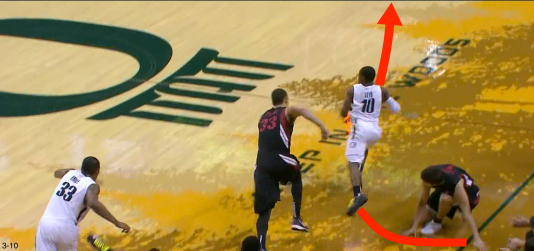 The ball finds Loyd, who makes tracks to the open hoop.