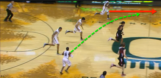 Loyd starts an Oregon fast break with a pass to Damyean Dotson.