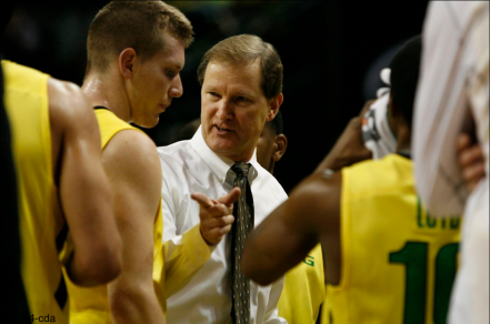 Coach Dana Altman with instructions for Singler in the Civil War Game.
