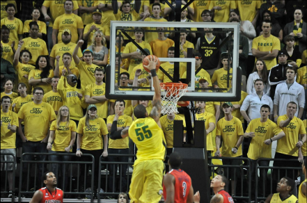 The Ducks need to finish better inside, like Tony Woods slamming this dunk home.