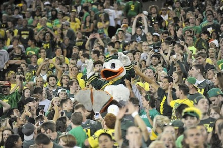 The Duck crowd surfing