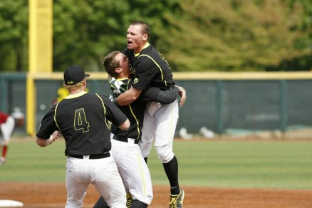 "Celebrating the ""small"" things in life after a walk-off bunt."