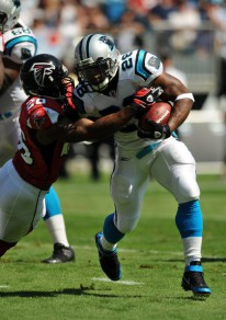 Jonathan Stewart recorded a 1,000-yard season both at Oregon and in the NFL for the Carolina Panthers