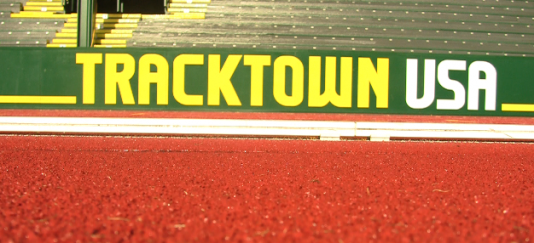 """Sing of """"Track Town USA"""" inside of Historic hayward Field"""