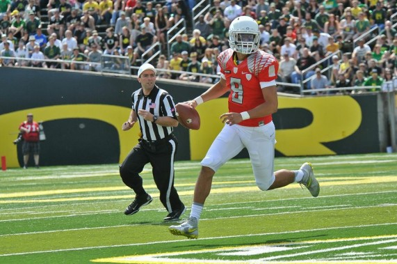 Ducks QB Marcus Mariota will have a plethora of targets in 2013