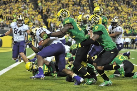 The Ducks must stop Bishop Sankey (25) to slow down a dangerous Washington offense