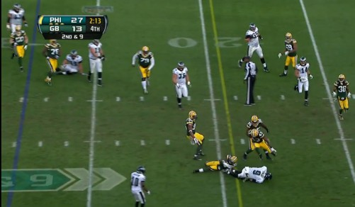 Players are stunned as Foles runs for a first down