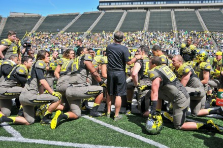 Coach Aliotti addressing his team after the 2013 Spring Game.