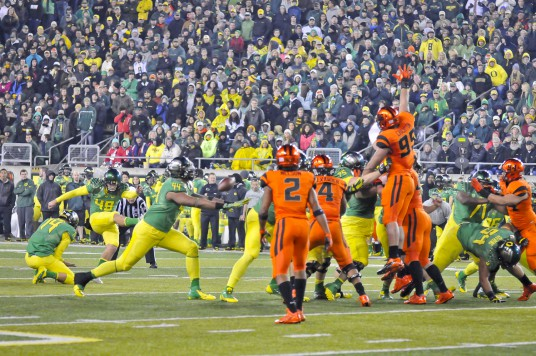 Matt Wogan kicks the difference in a one-point win over the Beavers