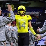 Jalen Brown high-fiving our brave soldiers during the U.S. Army All-American Bowl.