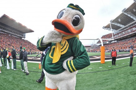 The Duck living it up at Reser Stadium in 2012