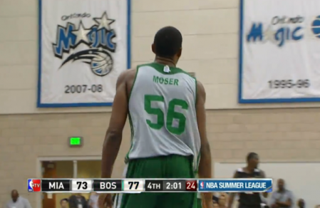 Moser playing his first summer league game for the Boston Celtics