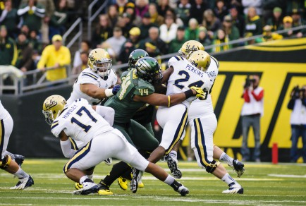 Oregon defeats the UCLA Bruins 42-14 in Pac-12 football play at Autzen Stadium in Eugene.