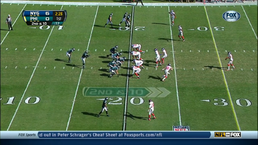 Johnson lines up wide left in Trips bunch formation.
