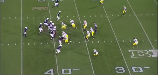Hackenberg sees a one-on-one matchup with soft coverage against receiver Brandon Felder, who is running a curl route.