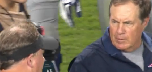 Chip Kelly shakes hands with Bill Belichick.