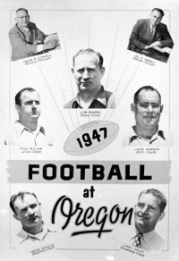 Photo of the 1929 University of Oregon football coaching staff taken at Hayward Field