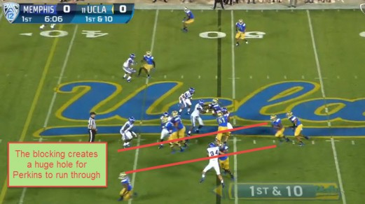 The huge hole is created by the superb blocking of UCLA's offensive line