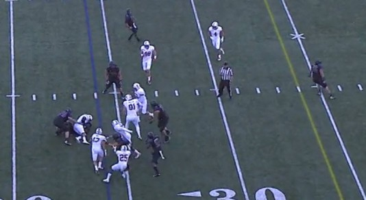Tackle for a 1 yard loss is definitely a win for the defense