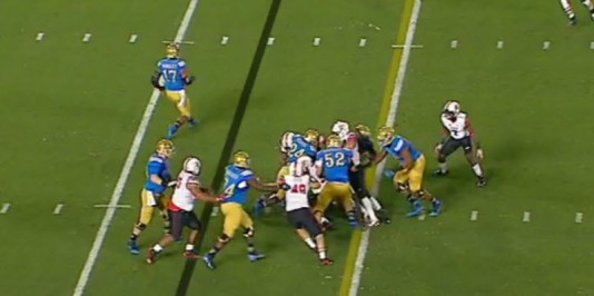 The linebackers fill the open gaps which leads to a stuffed run