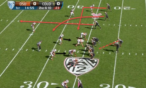 The tight end is going to run a clearing route