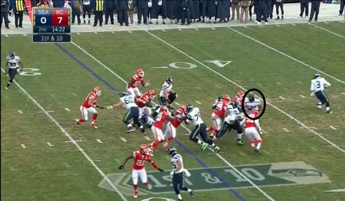 Marshawn Lynch stuffed for a loss by KC