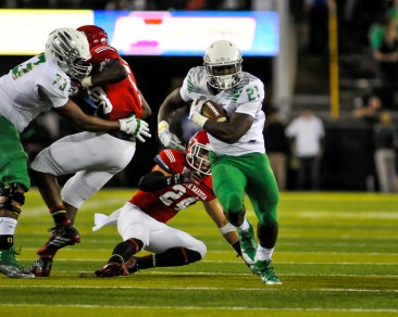 Royce Freeman had 75 yards and 2 touchdowns on just 10 carries in his first career game.