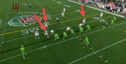 Florida State linebackers (red arrows) show blitz.