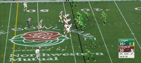 Baylis is lined up as an H-back and Marshall lines up to the left.