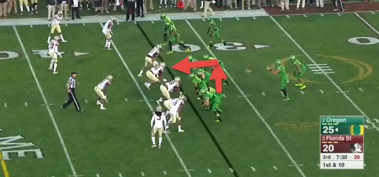 Trips right. Stevens prepares to pull in the direction of the arrow.