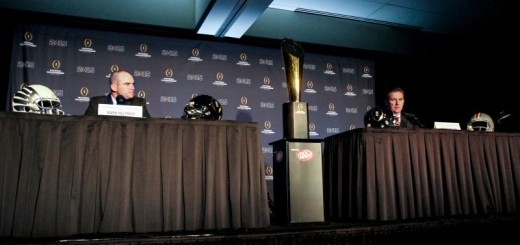 National Championship Game presser with Oregon's Mark Helfrich and Ohio State's Urban Meyer