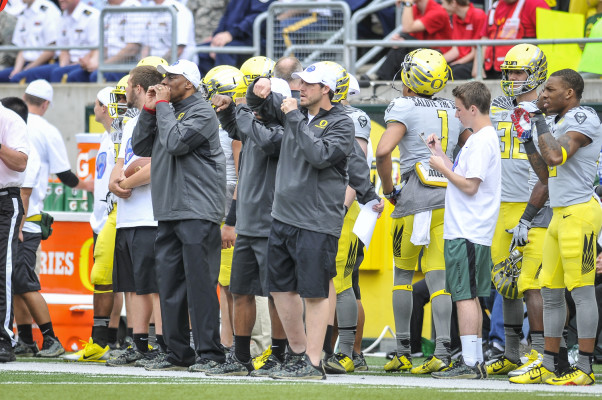 Oregon coaches at the 2014 Spring Game