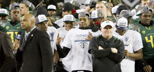 While at Oregon Chip Kelly recruited and featured numerous African-American players in high profile positions. Here the Ducks celebrate the 2011 Pac-12 Championship.