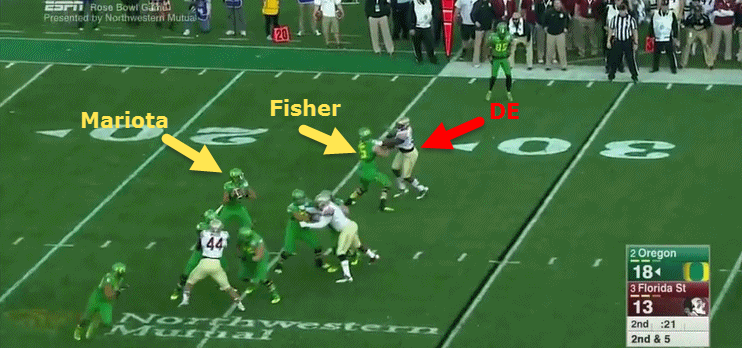 Bended knees give Fisher extra leverage.