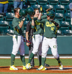Oregon catcher Shaun Chase hit a two-run home run to complete the series sweep of St. John's at PK Park