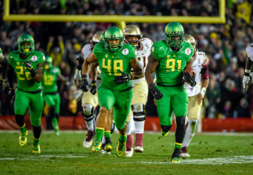 The Oregon defense got five turnovers against Florida State in the Rose Bowl.
