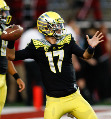 With two weeks left in spring practice, Jeff Lockie remains the front-runner to start for Oregon this Fall
